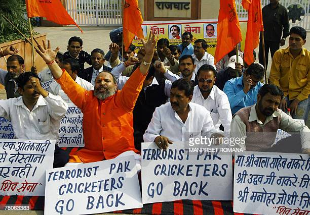 Activists of hardline Hindu organisation the Shiv Sena protest outside Rajghat a memorial to Mahatma Gandhi against the visit of the Pakistan cricket...