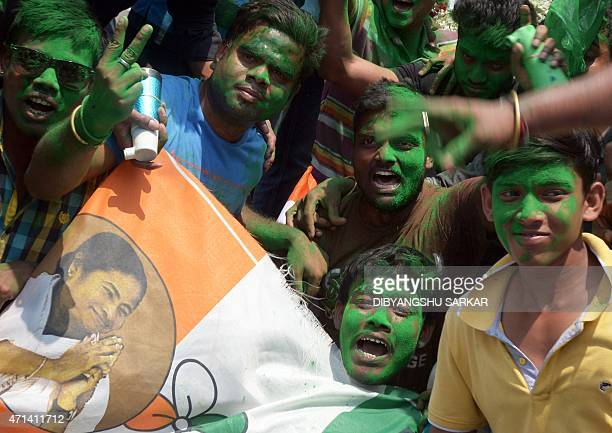 Activists of Indian political party Trinamool Congress celebrate a candidate's win in a seat ofthe recently concluded Kolkata Municipal Corporation...