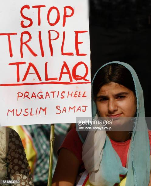 Activists of Joint Movement Committee during a protest against triple talaq at Jantar Mantar in New Delhi