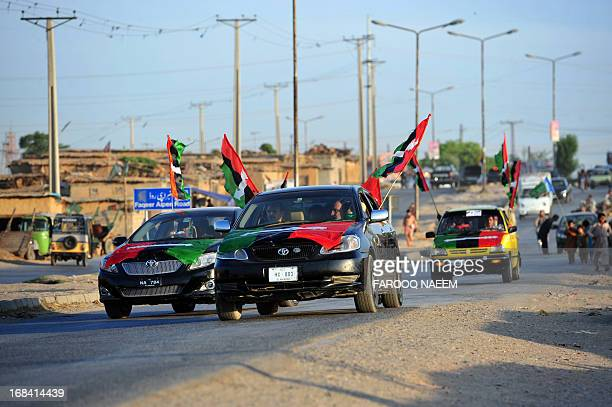 Activists of Pakistan Peoples Party drive with party flags for election campaign outskirt of Islamabad on May 9 2013 Around 25000 supporters of...