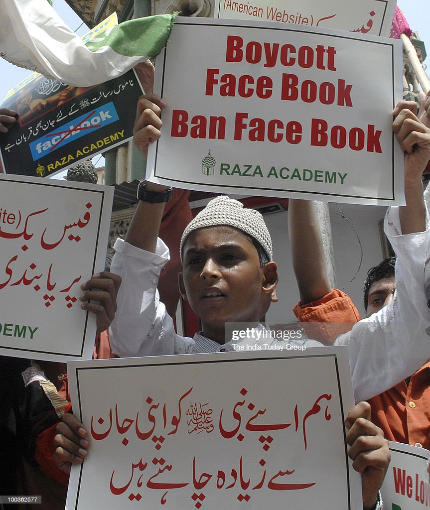 Activists of Raza Academy hold protest against Facebook in Mumbai on Friday, May 21, 2010.