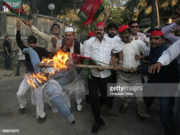 Activists of Samajwadi Party protest against writer Salman Rushdie at Godrej Bungalow Juhu on Sunday
