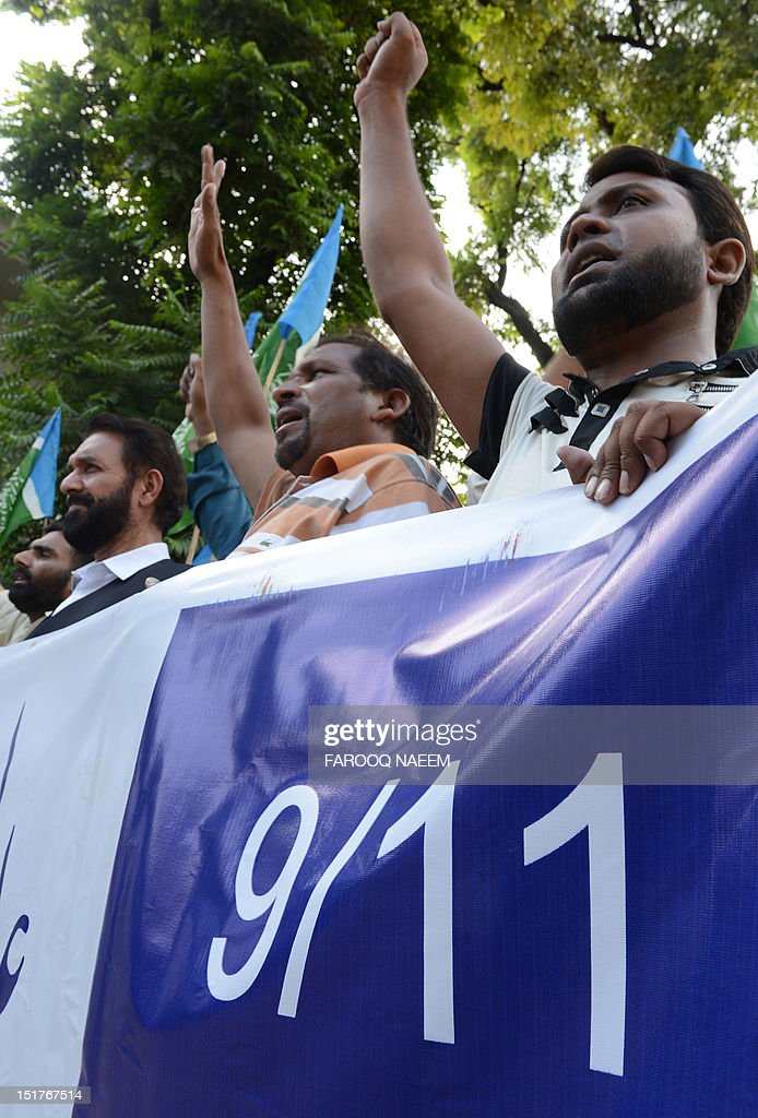 Activists of Shabab-e-Milli, a youth wing of the Jamaat-e-Islami political party, shout slogans against the US led international military action in 2001 in Afghanistan, at a protest in Islamabad on September 11, 2012, on the 11th anniversary of the September 11 attacks. The United States led international military action to bring down the Taliban regime in October 2001 because it refused to give up Al-Qaeda boss Osama bin Laden, who ultimately escaped into Pakistan, where he was shot dead by US forces in May 2011. AFP PHOTO/Farooq NAEEM