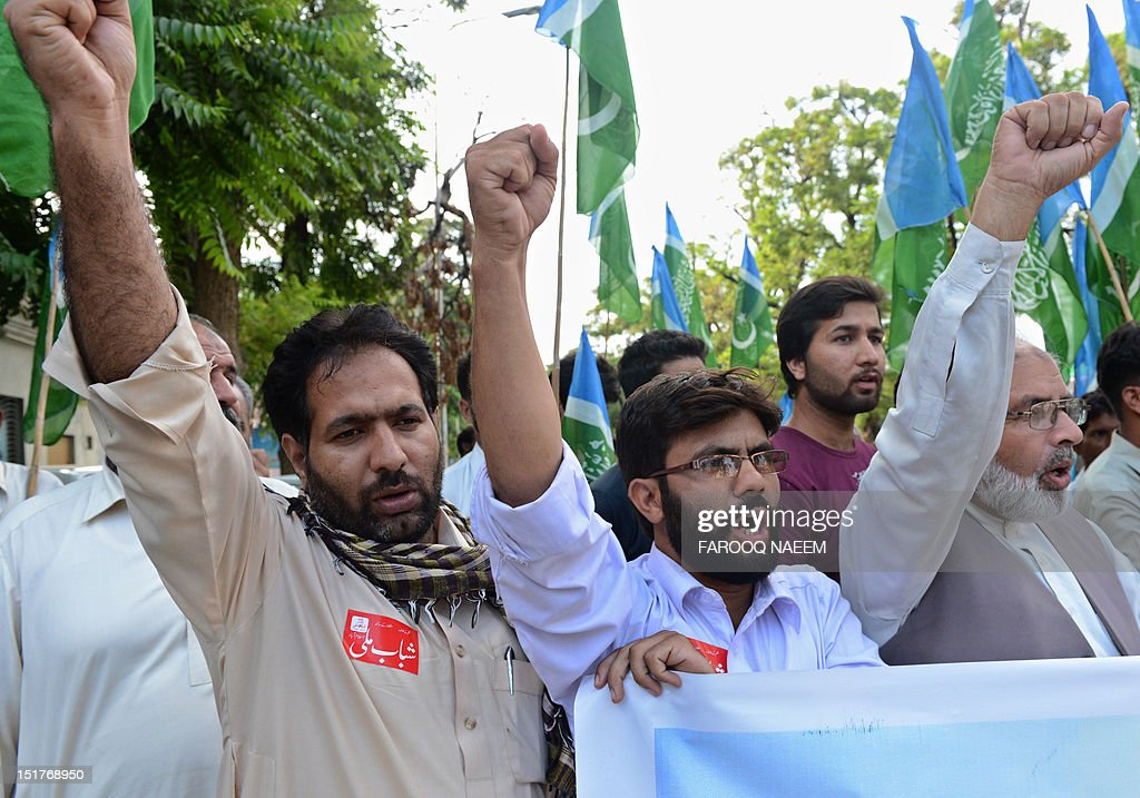 Activists of Shabab-e-Milli, a youth wing of the Jamaat-e-Islami political party, shout slogans against the US led international military action in 2001 in Afghanistan at a protest in Islamabad on September 11, 2012, on the 11th anniversary of the September 11 attacks. The United States led international military action to bring down the Taliban regime in October 2001 because it refused to give up Al-Qaeda boss Osama bin Laden, who ultimately escaped into Pakistan, where he was shot dead by US forces in May 2011. AFPP HOTO/Farooq NAEEM