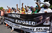 IND: Activists Of Shiromani Akali Dal And Delhi Sikh Sangat Protest Against Congress