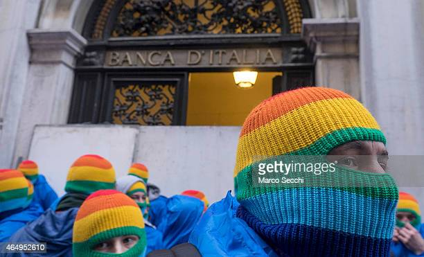 Activists of the Autonomous Social Center Movements of North Eastern Italy barricade the Venetian headquarters of the Bank of Italy on March 2 2015...