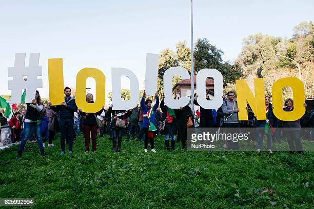 Activists of the Five Star Movement gather to invoke a NO vote to the upcoming constitutional referendum on 26th november 2016 in Rome Italy