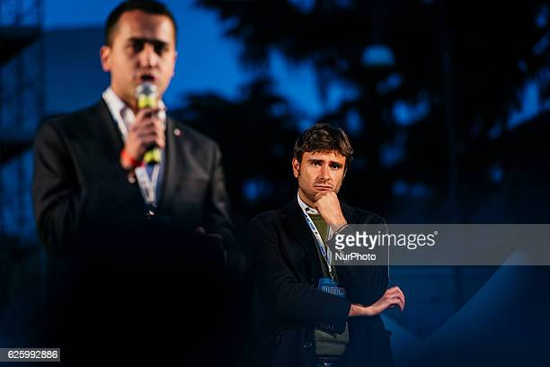 Activists of the Five Star Movement Luigi Di Maio and Alessandro Di Battista during a demonstration for the upcoming constitutional referenda to be...
