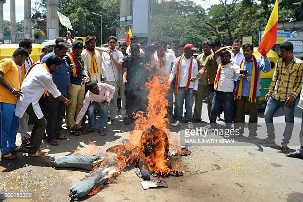 Activists of the Karnataka Rakshana Vedike burn an effigy of the Chief Minister of the southern Indian state of Karnataka Siddaramaiah during a...