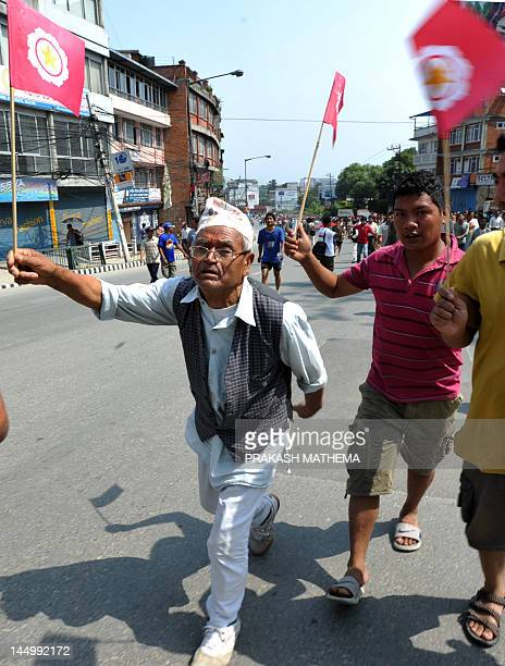 Activists of the Nepal Federation of Indigenous Nationalities which is calling for the formation of federal states in the new constitution along...