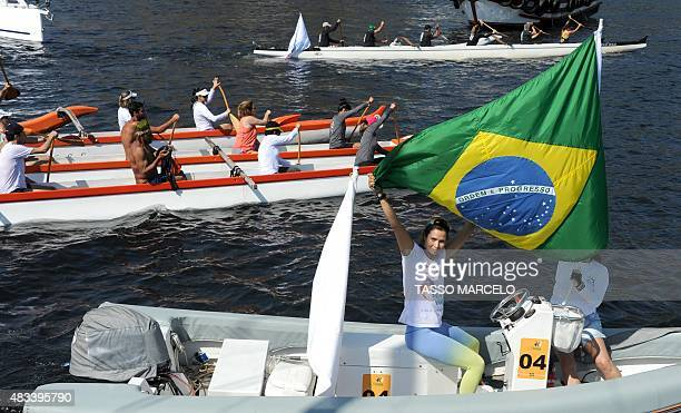 Activists of the NGO Baia Viva sailors and fishermen protest against the pollution on Guanabara Bay where Olympic sailing events will take place in a...