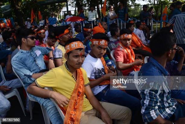 Activists of Viswa Hindu Parishad during the rally on the eve of Hanuman Jayanti festival in Kolkata India on Tuesday 11th April 2017 Hanuman Jayanti...