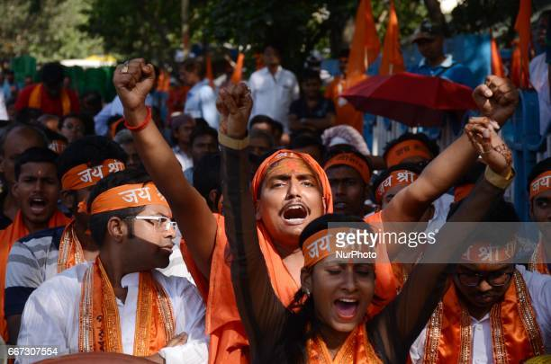 Activists of Viswa Hindu Parishad shouts slogans during the rally on the eve of Hanuman Jayanti festival in Kolkata India on Tuesday 11th April 2017...