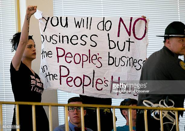 Activists opposed to HB2 stage a protest in the gallery of the State House during their session in Raleigh NC on Monday April 25 2016