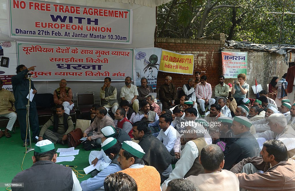 Activists participate in a protest against the proposed India-European Union Free Trade Agreement in New Delhi on February 27, 2013. Indian labour union activists demonstrated against the government's decision to allow Foreign Direct investment (FDI).