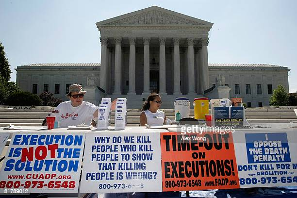 Activists participate in a vigil against the death penalty in front of the US Supreme Court July 1 2008 in Washington DC The Abolitionist Action...