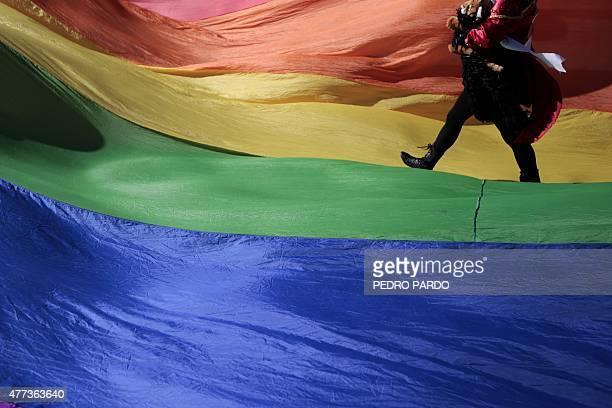 Activists participate in the Gay Pride Parade in Acapulco Guerrero State Mexico on June 16 2015 AFP PHOTO/ Pedro PARDO
