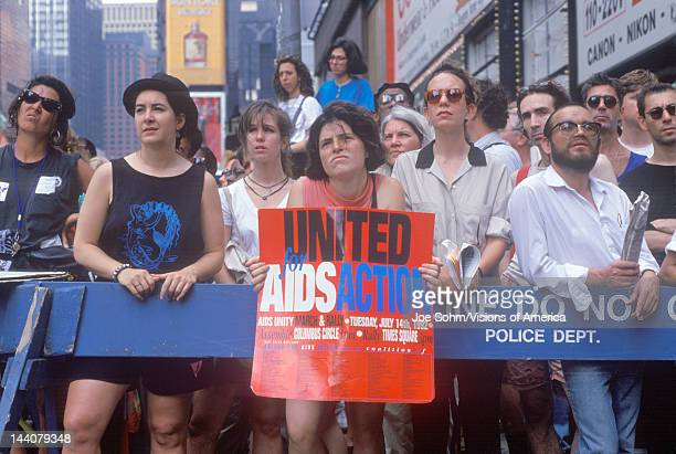 Activists participating in AIDS rally Times Square New York City New York