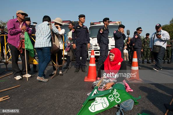 Activists protest against a coalfired power plant project in Krabi at Government House in Bangkok Thailand on February 18 2017 Thai government's...
