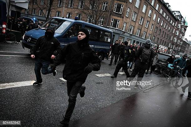Activists run after the PEGIDA protest after being detained for 10 minutes by the police Clashes between antiislamist protesters and antifascist...