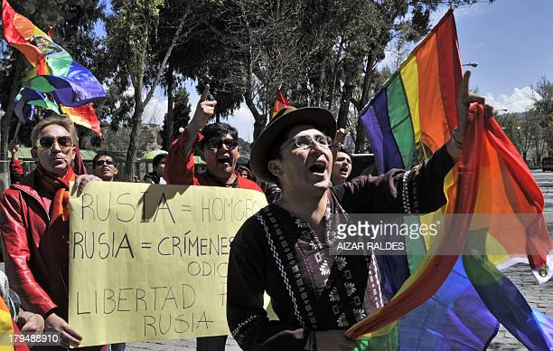 Activists shouts slogans during a protest against homophobia and repression against gays in Russia in front of the Russian embassy in La Paz on...