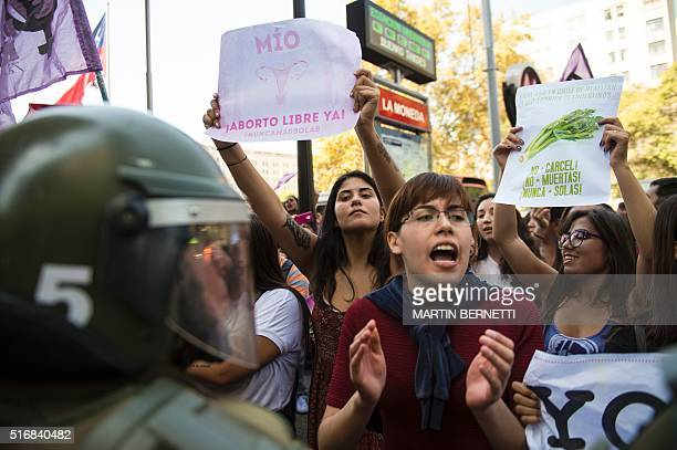 Activists take part in a demo in favor of abortion in Santiago on March 21 2016 Lawmakers in Chile's lower house of Congress on Thursday approved...
