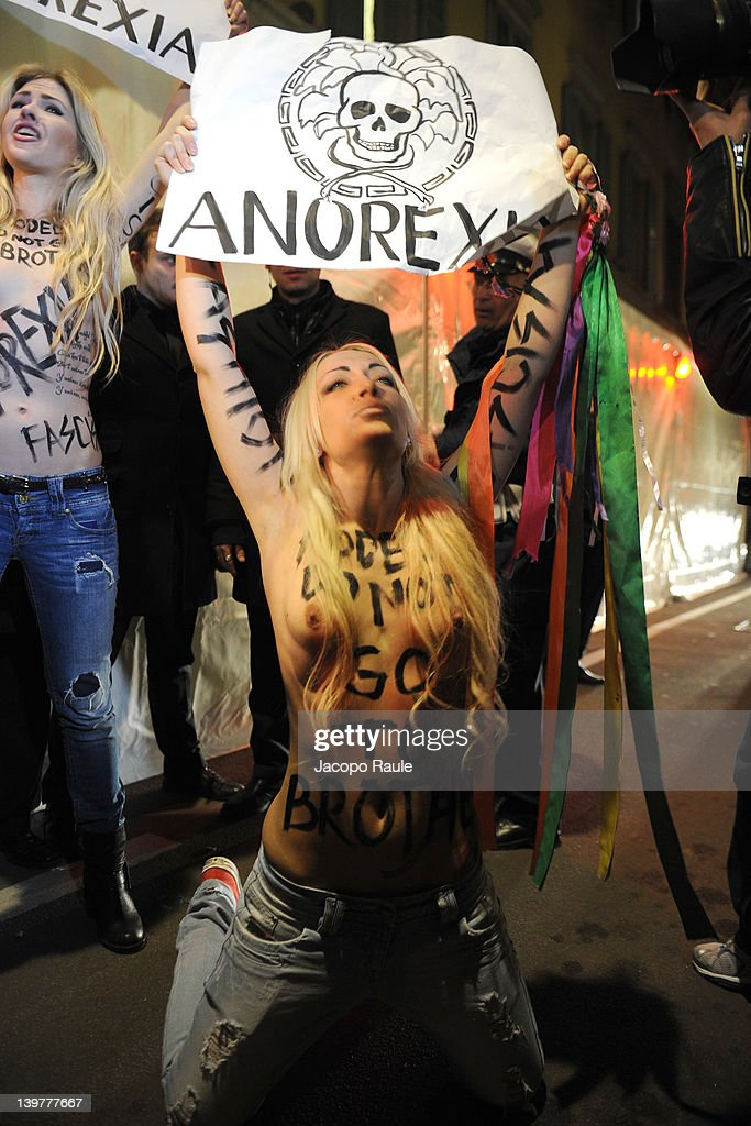 Protest Outside Versace Fashion Show | Getty Images