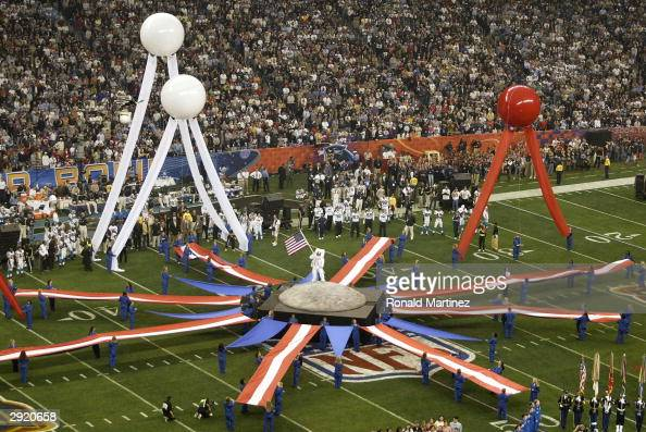 Activities during the pregame show prior to the start of Super Bowl XXXVIII between the New England Patriots and the Carolina Panthers at Reliant...