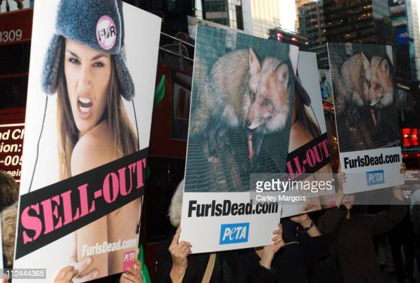 PETA activitists take to the streets in protest of what they call 'Cindy Crawford's Fur 'Sell Out''
