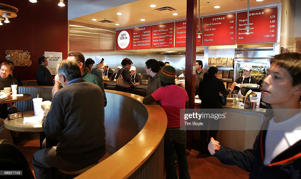 Activity is seen near the order-counter area inside a Chipotle restaurant December 2, 2005 in Glenview, Illinois. McDonald's Corp., owners of 92 percent of Chipotle, are preparing its Mexican-style eateries for an initial public offering.