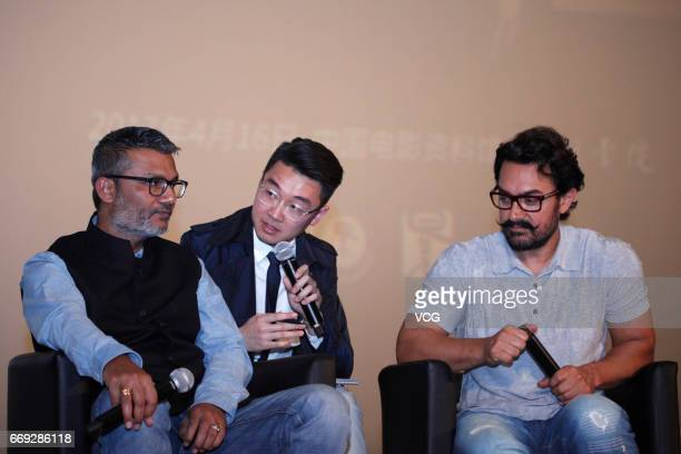 Actor Aamir Khan and director Nitesh Tiwari attend 'Dangal' press conference at China Film Archive on April 16 2017 in Beijing China