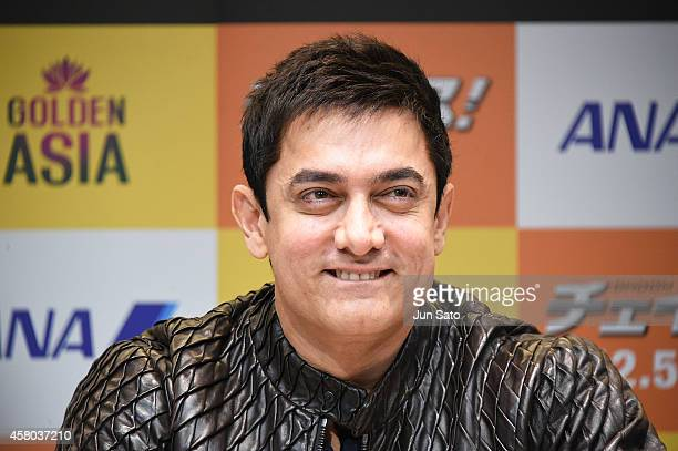 Actor Aamir Khan attends the press conference of 'Dhoom3' during the 27th Tokyo International Film Festival at Roppongi Hills on October 29 2014 in...