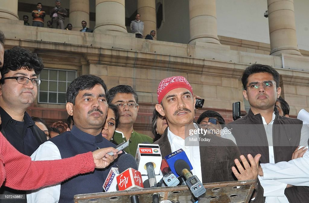 Actor <a gi-track='captionPersonalityLinkClicked' href=/galleries/search?phrase=Aamir+Khan+-+Actor&family=editorial&specificpeople=806800 ng-click='$event.stopPropagation()'>Aamir Khan</a> talks to the media after a meeting with PM Manmohan Singh, Lok Sabha speaker Meira Kumar and other parliamentarians in New Delhi on December 1, 2010. Lyricist Prasoon Joshi, BJP leader Shahnawaz Hussain and MOS for IT & Communications <a gi-track='captionPersonalityLinkClicked' href=/galleries/search?phrase=Sachin+Pilot&family=editorial&specificpeople=5839798 ng-click='$event.stopPropagation()'>Sachin Pilot</a> can also seen in the pic.
