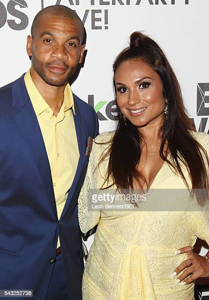 Actor Aaron D Spears and Estela LopezSpears attend the BET Awards post show in the Cricket Lounge after the 2016 BET Awards on June 26 2016 in Los...