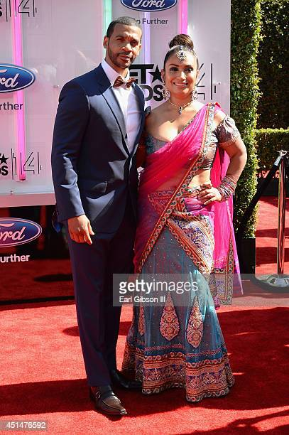 Actor Aaron D Spears and Estela Spears attend the BET AWARDS '14 at Nokia Theatre LA LIVE on June 29 2014 in Los Angeles California