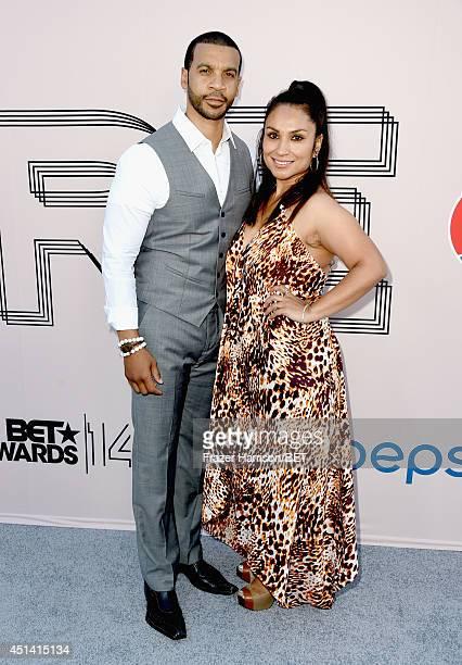 Actor Aaron D Spears and Estela Spears attend the BET AWARDS '14 Debra Lee's PreDinner held at Milk Studios on June 28 2014 in Los Angeles California