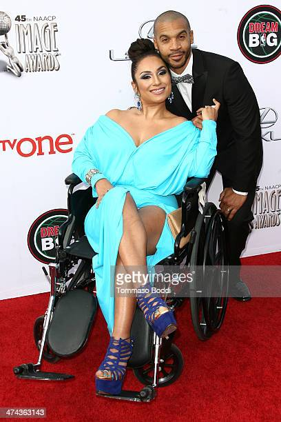 Actor Aaron D Spears and Estella Spears attend the 45th NAACP Image Awards held at the Pasadena Civic Auditorium on February 22 2014 in Pasadena...