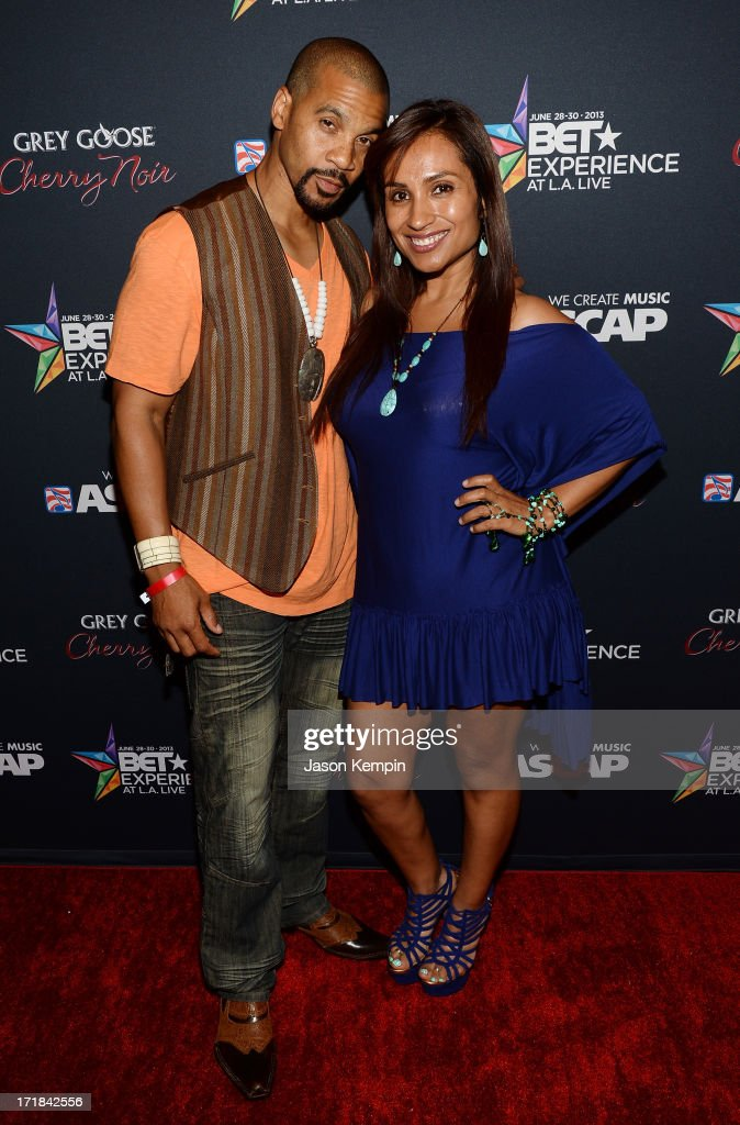 Actor Aaron D. Spears and guest arrive at the Grey Goose Cherry Noir Flavored Vodka VIP after party during the 2013 BET Experience at The Conga Room at L.A. Live on June 28, 2013 in Los Angeles, California.