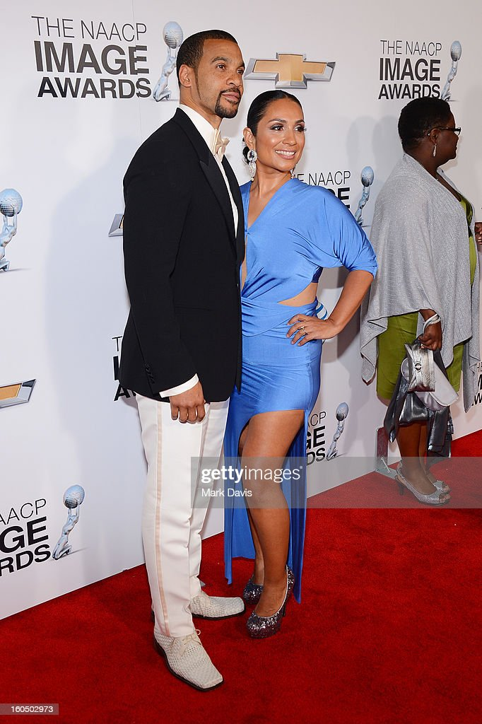 Actor Aaron D. Spears and his wife Estela attends the 44th NAACP Image Awards at The Shrine Auditorium on February 1, 2013 in Los Angeles, California.