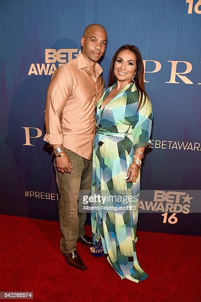 Actor Aaron D Spears and producer Estela LopezSpears attend Debra Lee's PRE kicking off the 2016 BET Awards on June 22 2016 in Los Angeles California