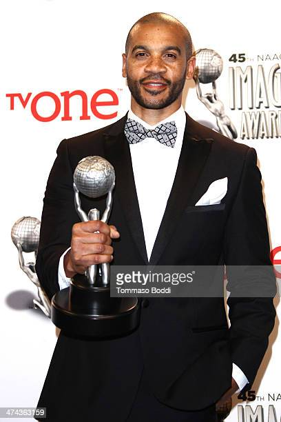 Actor Aaron D Spears poses at the 45th NAACP Image Awards press room held at the Pasadena Civic Auditorium on February 22 2014 in Pasadena California