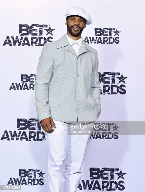 Actor Aaron D Spears poses in the press room during the 2015 BET Awards at the Microsoft Theater on June 28 2015 in Los Angeles California