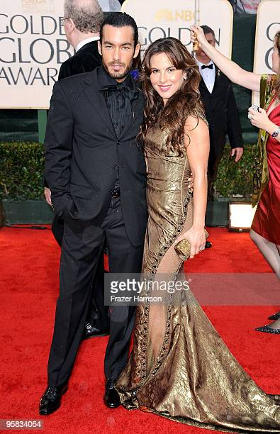 Actor Aaron Diaz and TV personality Kate del Castillo arrive at the 67th Annual Golden Globe Awards held at The Beverly Hilton Hotel on January 17...