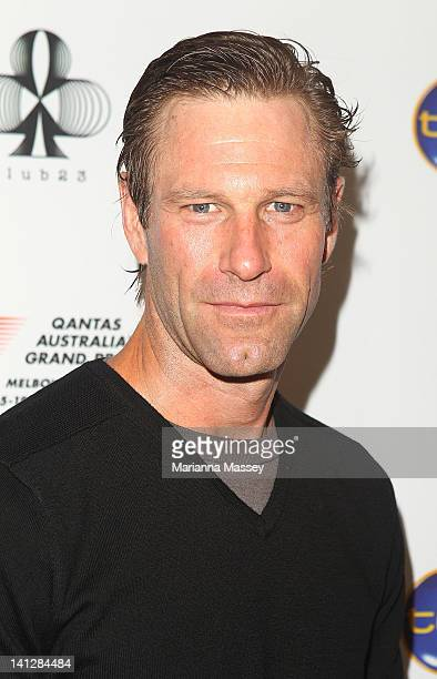 Actor Aaron Eckhart arrives at the opening party of the 2012 Australian Grand Prix at Club 23 on March 14 2012 in Melbourne Australia