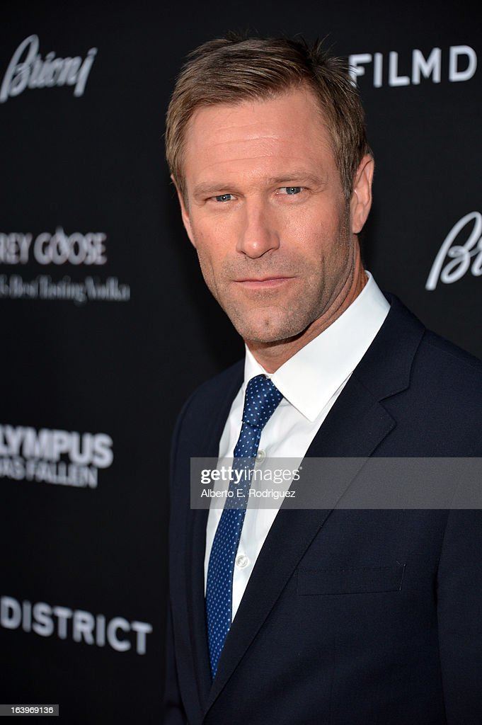 Actor Aaron Eckhart arrives at the premiere of FilmDistrict's 'Olympus Has Fallen' at ArcLight Cinemas Cinerama Dome on March 18, 2013 in Hollywood, California.