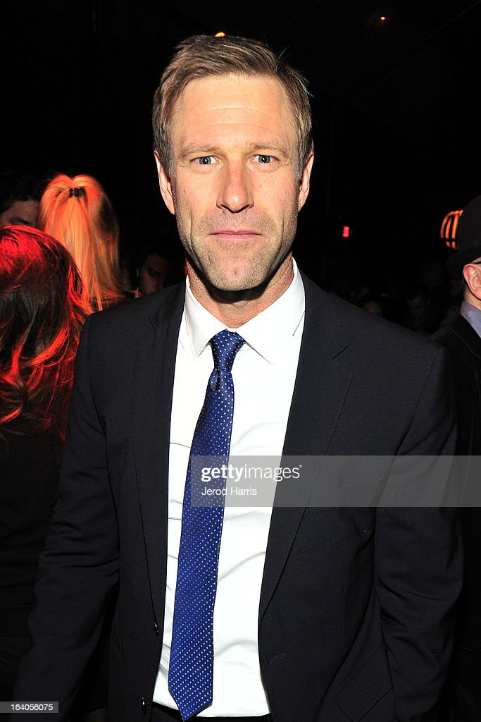 Actor Aaron Eckhart attends 'Olympus Has Fallen' Premiere Reception presented by Grey Goose Vodka at Lure on March 18, 2013 in Hollywood, California.