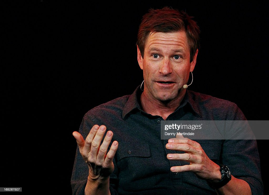 Actor <a gi-track='captionPersonalityLinkClicked' href=/galleries/search?phrase=Aaron+Eckhart&family=editorial&specificpeople=220602 ng-click='$event.stopPropagation()'>Aaron Eckhart</a> attends the Meet The Filmmakers event ahead of tomorrow's UK Premiere of 'Olympus Has Fallen' at Apple Store, Regent Street on April 2, 2013 in London, England.