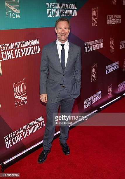 Actor Aaron Eckhart attends the Mexican premiere of his film 'Sully' during the 14th Annual Morelia International Film Festival on October 24 2016 in...