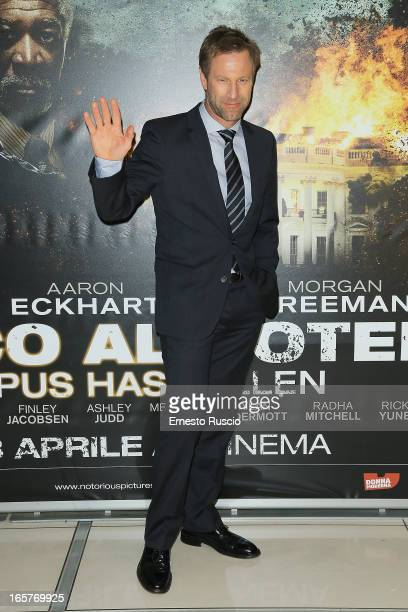 Actor Aaron Eckhart attends the 'Olympus Has Fallen' premiere at Cinema Adriano on April 5 2013 in Rome Italy