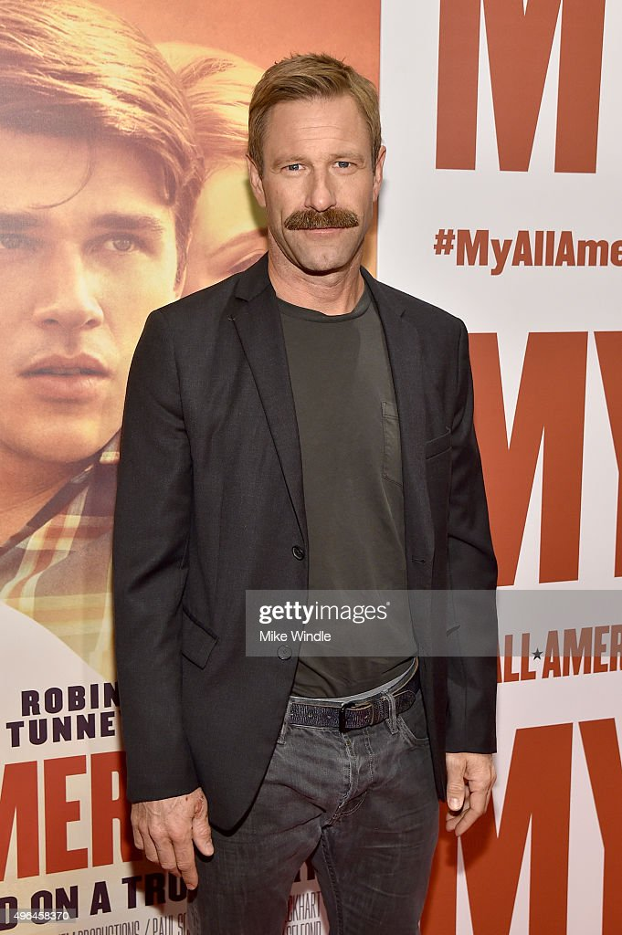Actor Aaron Eckhart attends the premiere of Clarius Entertainment's 'My All American' at The Grove on November 9, 2015 in Los Angeles, California.